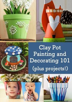 Clay pot painting is perfect for beginner crafters! Learn how to decorate terra cotta using these tutorials great for both kids and adults. Easy Diy Crafts, Diy Craft Projects, Fun Crafts, Crafts For Kids, Amazing Crafts, Painted Clay Pots, Painted Flower Pots, Rainbow Painting, Mandala Painting
