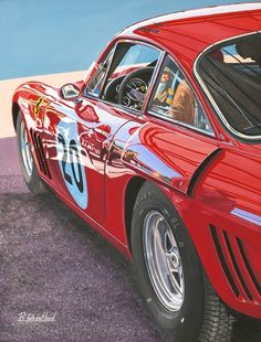 Ferrari 330 LMB TT reflections Goodwood painting by Richard Wheatland