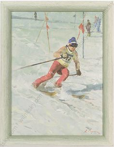 """Slalom"" by Arkadi Soroka Oil Painting Slalom Skiing, Socialist Realism, Russian Art, Winter Sports, Winter Christmas, Seasonal Decor, Online Art, 1960s, Original Art"