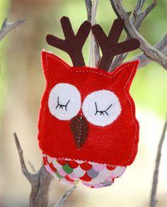 Oliver the Owl-Deer Christmas decoration felt & fabric