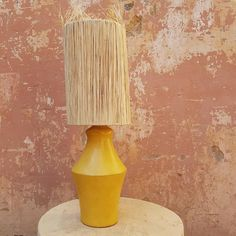 Moroccan artisan made Tadelakt and Raffia lamp Size: 54 cm tall Wired in Australia White piece is slightly scuffed Chabi Chic, Living Etc, Tadelakt, Floor Cushions, Floor Rugs, Moroccan, Terrace, House Ideas, Artisan