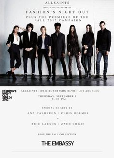 Tomorrow night : @FosterthePeople will be @AllSaints_ #FNO2012 You coming?
