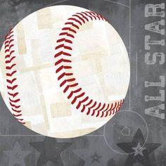 Oopsy Daisy - Baseball All Star - Gray Canvas Wall Art 10x10, Vicky Barone