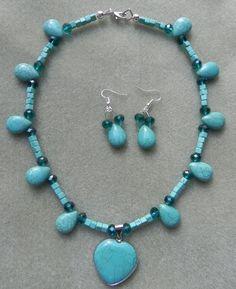 Collar turquesa, aretes turquesa, collares, collar para mujer, collar para jovenes, collar de PekitasCreations en Etsy