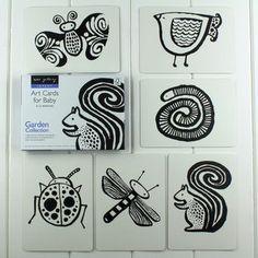 Black And White Baby Flash Cards Garden Animals