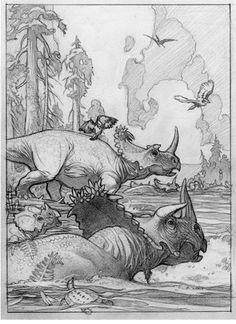 "Mark Schultz' pencil art for ""Centrosaurus brinkmani."""