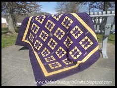 Crown Royal Quilt. I've make plain patchwork quilts out of the bags, but now looking for something a little more fun. Love this star pattern.