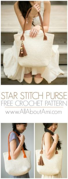 Crochet this beautifully textured Star Stitch Purse with a flat base! Both crochet and leather handle tutorials available!