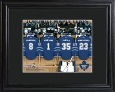You like these  Toronto Maple Leafs NHL Locker Room Personalized Print http://www.wasandnow.com/shop/toronto-maple-leafs-nhl-locker-room-personalized-print/ #Arttowngifts, #Gifts, #Leafs, #Locker, #Maple, #NHL, #Personalized, #Print, #Room, #Specialty, #Toronto Perfect Gifts NHL framed print features Toronto Maple Leafs' jerseys with your name on one of the jerseys. Thrill the hockey love of your life with our unique personalized NHL Toronto Maple Leafs Locker Room prin