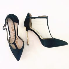 """HP  Sam Edelman Smithfield black to-straps New in box t strap heels from Sam Edelman. Black calf hair. Size 8.5. They fit true to size. Heel is gold and measures about 4.5"""". From a pet free smoke free home. Reasonable offers welcome. Sam Edelman Shoes Heels"""