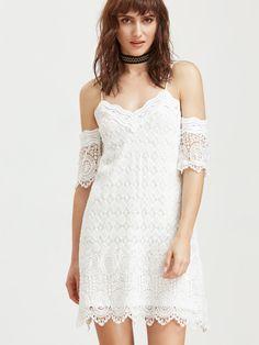 robe épaule avec broderie et de la dentelle - blanc