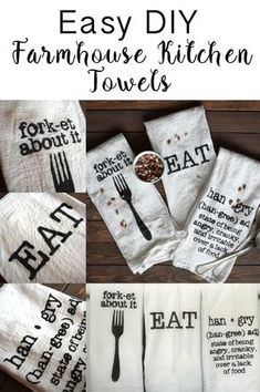 DIY Farmhouse Kitchen Towels - Dream Design DIY Easy way to make your own kitchen towels. Add some humor to your kitchen and some Farmhouse flair. Diy Design, Design Ideas, Diy Décoration, Easy Diy, Sell Diy, Vinyl Projects, Craft Projects, Circuit Projects, Vinyl Crafts