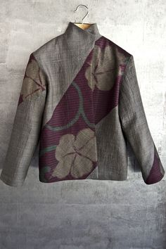 beautiful jacket with the ccombo of fabrics and seaming