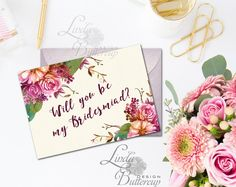 Floral Bridesmaid Card, Will You Be My Bridesmaid card, Custom Bridesmaid card, Floral Wedding Card, bridesmaid proposal, bridal party, Be My Bridesmaid Cards, Will You Be My Bridesmaid, Bridesmaid Proposal, Bridesmaids, Funny Greeting Cards, Floral Wedding, Wedding Cards, Birthday Cards, Place Card Holders
