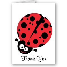 Lady Bug Thank You Note Greeting Card by AmericasNextTopMommy