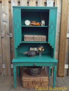 A cabinet made from a side table and a hutch - finished in Florence Chalk Paint® decorative paint by Annie Sloan and Dark Soft Wax | By Painted Restoration