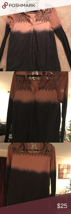 BKE long sleeve ombré BKE size large ombré brown and black. Button up cotton shirt. Front pockets. Lace embellishment on back under collar. Worn once. Purchased at Buckle. Perfect condition. Smoke free home. BKE Tops Button Down Shirts