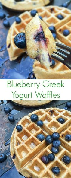 Fluffy on the inside, crispy on the outside, these Blueberry Greek Yogurt Waffles are packed with protein and whole grains. #waffles
