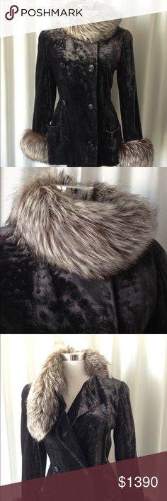"""Carolina Herrera gray velour jacket fox fur trims Carolina Herrera at Elisabeth Arden velour gray peacoat with silver fox fur trims, size 8 pockets, lost CH tag but is authentic. Measurement  Arm pit to arm pit 19"""" Waist 17.5"""" Length 27.5"""" Shoulder 16"""" Carolina Herrera Jackets & Coats"""