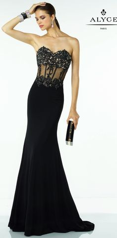 Prom Dresses Evening Dresses by B'Dazzle for Alyce Paris<BR>35788<BR>Full length dress, illusion lace beaded mesh bodice creating sexy bodice and sheer back.
