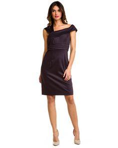 Black Halo Marilyn Fig Asymmetric Sheath Dress