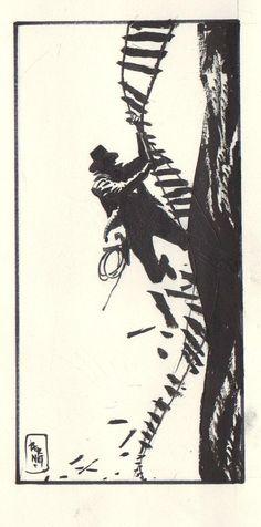 Indiana Jones - Where he cut the rope bridge in the Temple of Doom ~by Jordi Bernet Indiana Jones, Comic Books Art, Comic Art, Book Art, Storyboard, Jordi Bernet, Bd Comics, Harrison Ford, Cool Posters