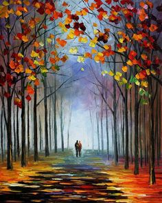 "Autumn Fog 4 — PALETTE KNIFE Landscape Modern Wall Art Textured Oil Painting On Canvas By Leonid Afremov - Size: 24"" X 30"" (60 cm X 75 cm)"