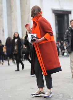 orange coat street style