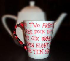 Hand Painted Nightmare on Elm Street Mug Freddys Song