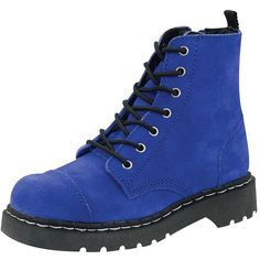 T.U.K. Shoes T2207 - $90.00 - Cobalt Blue Suede Anarchic Combat Boot ($50) ❤ liked on Polyvore featuring shoes, boots, ankle booties, cobalt blue booties, cap toe boots, army boots, mid-heel boots and print combat boots