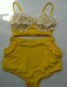 Handmade Retro Swimwear Swimsuit Bath Suit High Waist by BareMe.