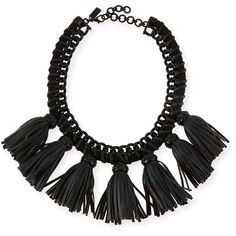 Cocoa Lucinda Tassel Bib Necklace ($60) ❤ liked on Polyvore featuring jewelry, necklaces, accessories, black, bib necklace, chain fringe necklace, braided necklace, fringe bib necklace e black cord necklace