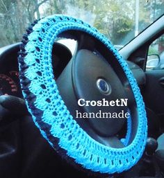 Turquoise Car Accessories Car Gifts Crochet Wheel Cover Car Decor Wheel Cover for car For women Wheel cover Steering wheel cover H18120