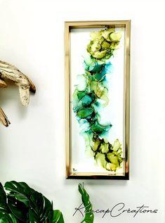 "Cadre, dessin abstrait à l'encre ""Greenlife"" vert et holographique Decoration, Creations, France, Ink, Paper, Holographic, Art Crafts, Acrylic Paintings, Canvases"