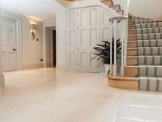With cream and buttermilk tones and occasional fossil, this cream english limestone flooring is perfect for modern and more rustic interiors. Stone Tile Flooring, Hall Flooring, Natural Flooring, Stone Tiles, Flooring Ideas, Kitchen Flooring, Hall Tiles, Tiled Hallway, Cream Tile Floor