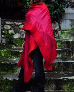 Handmade Red Felt Shawl   Red Wool Silk Felt by ForGoodPeople