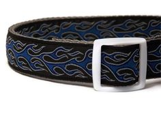 Dog Collar  Blue Flames with White Buckle  by FuzzyPawCreations, $13.26