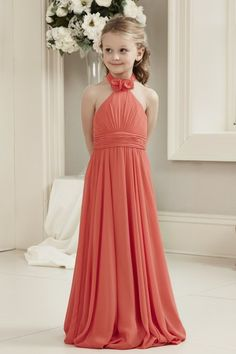 0e68e9feb Alexia Designs style Chiffon long dress with high neckline, floral detail  and rucking (Junior version of adult style