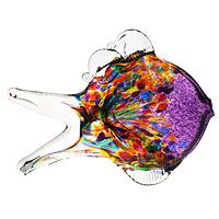 A rainbow of colors rushes and swims vibrantly within this hand-blown recycled glass fish by Canadian artist Stephen Kitras. Leaded Glass, Mosaic Glass, Fused Glass, Stained Glass, Fish Sculpture, Sculptures, Nautical Theme Decor, Fish Art, Tropical Decor