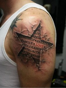 3d star tattoo design for men 228x300 Awesome 3D Tattoos for Men