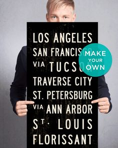 The Large Custom Bus Scroll by Transit Design. Create your own destinations on Stretched Canvas. Subway Art, Subway Sign.