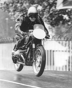 Ed La Belle enjoying his BMW RS54 Rennsport at the 1959 Senior TT