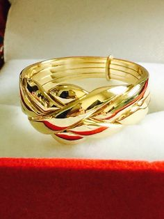 Solid 9k Yellow Gold 4 Band Turkish Puzzle Ring-FREE SHIPPING! Size from 4 to 11 #Band