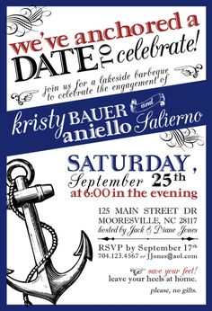 Nautical Save the Date engagement party announcement
