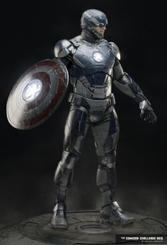 "Check out this amazingly cool digital illustration of Captain America wearing a suit of Iron Man type armor that was specifically built for the all-American hero. It was created by concept artist Abraão Segundo, and he calls it ""Captain Iron."""