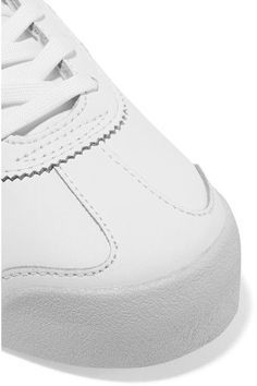 adidas Originals - Samoa Metallic-trimmed Leather Sneakers - White - US11