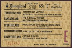 The coveted E tickets at Disneyland got you on the 'good' stuff.  Recall Small World opening (obnoxious song) - Pirates of the Caribbean also I recall being a later 60's ride to open...who knew Pirates would end up being such a huge franchise for Disney Prods.