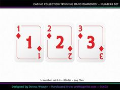WINNING HAND DIAMONDS Numbers on Craftsuprint designed by Donna Weaver - NEW Casino Collection . . let me introduce you to WINNING HAND - DIAMONDS!Lady Luck will definitely be on your side with this one! Each card is approximately 11cm wide and 15cm high, in PNG format for quality re-sizing. Have fun!Included is one full character set as specified above. All characters are individual files in png format.Click my name to see more of my products, including corresponding alphas that match this…