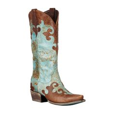 Lane Boots Women's 'Dawson' Brown/Turquoise Cowboy Boots | Overstock™ Shopping - Great Deals on Lane Boots Boots