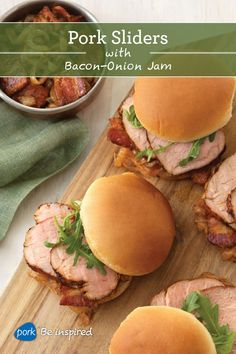 Sliders just got a serious upgrade. Pork Sliders with Bacon-Onion Jam will change your world. Good warm or at room temp, this versatile dish is a go-to for any occasion!